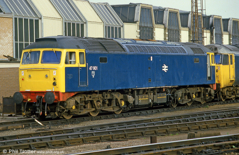 47901 at Bristol Bath Road in June 1985. Previously 47046, this loco was badly damaged in an accident at Peterborough in 1974 and subsequently rebuilt as 47601 and later 47901 as a testbed for a 12 cylinder Ruston engine intended for use in class 58. 47901 was scrapped by M.C. Metals, Glasgow in February 1992.