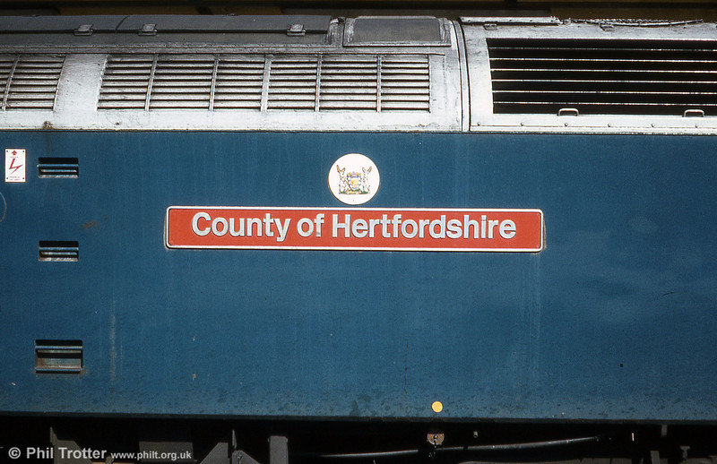 Nameplate of 47583 'County of Hertfordshire' at Ipswich on 28th March, 1981.