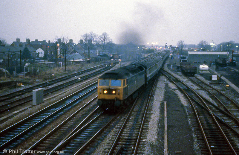 47533 leaves Oxford at dusk on 19th January 1980.