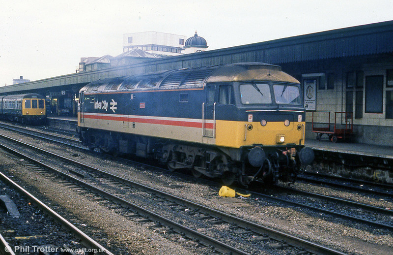 47606 'Odin' passes through Cardiff Central in January 1989.