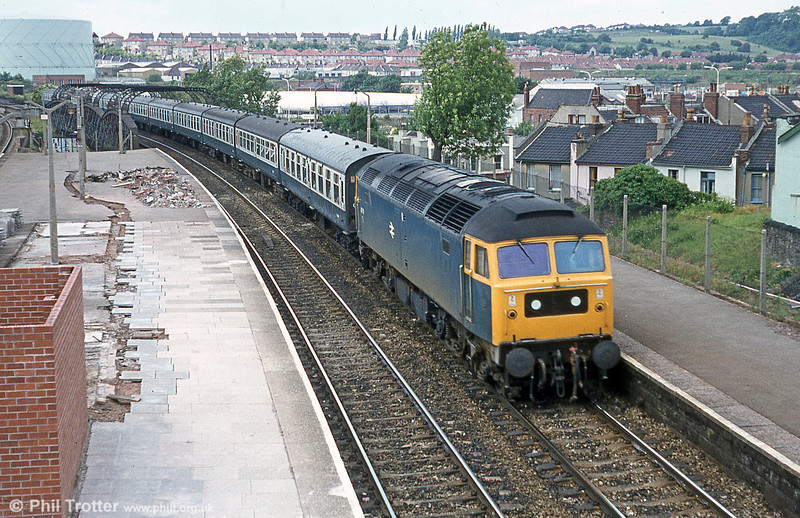 A class 47 heads a cross country service across the now-disused bridge at Stapleton Road. Loco unknown.