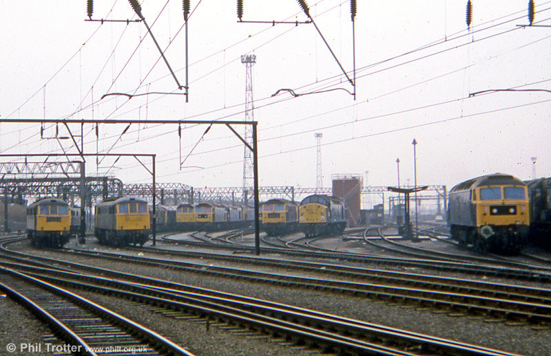 Classes 25, 40, 47 and 86 stabled at Crewe in 1978. Locos unknown.