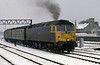 A wintry scene with 47574 entering Cardiff Central.