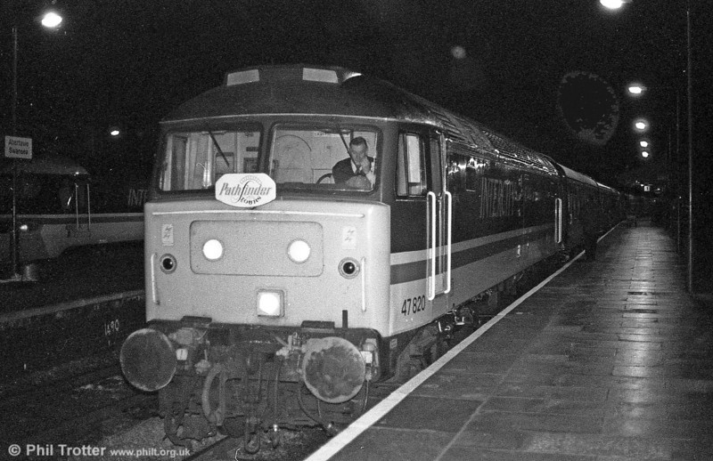 Another night shot of a class 47. This is 47820 ready to leave Swansea with an early morning 'Pathfinder' railtour. The loco is still in service with EWS as 47785.