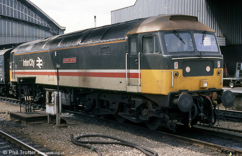 September 1988 finds 47613 'North Star' - by now repainted in 'Inter City' livery - at the head of a parcels train at Bristol Temple Meads. The former WR 'namer' D1661 is nowadays numbered 47840 and is preserved at the West Somerset Railway.
