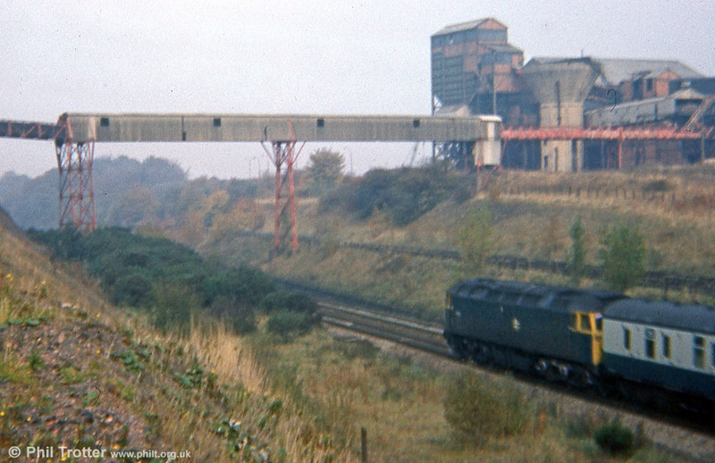 47105 passes the remains of the closed Gresford Colliery on 18th October 1975.