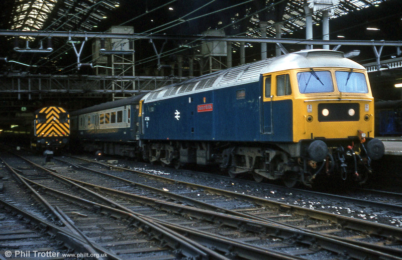 47584 'County of Suffolk' at Liverpool Street on 7th February 1981. Many Stratford based locomotives carried the trademark silver roof at this time.