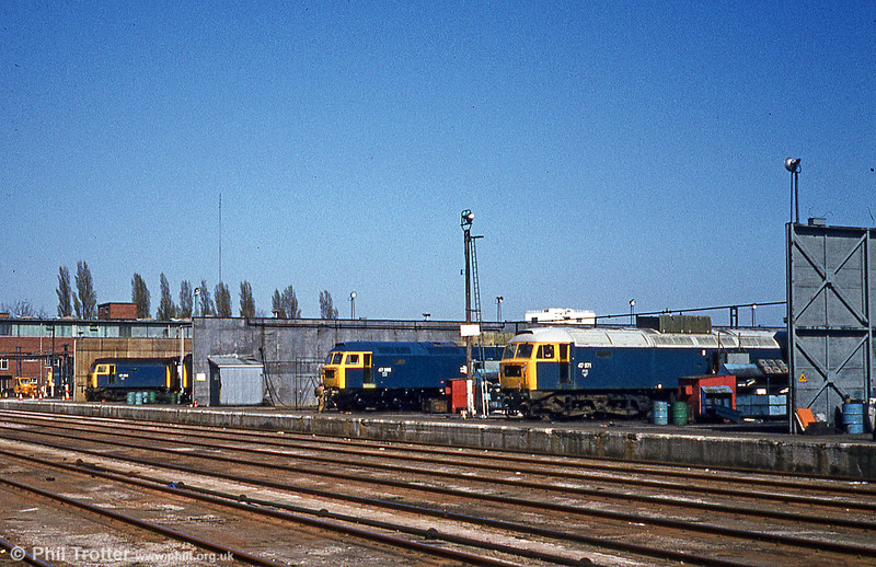 47571, 47386 and one other at Crewe Works on 15th April 1981.