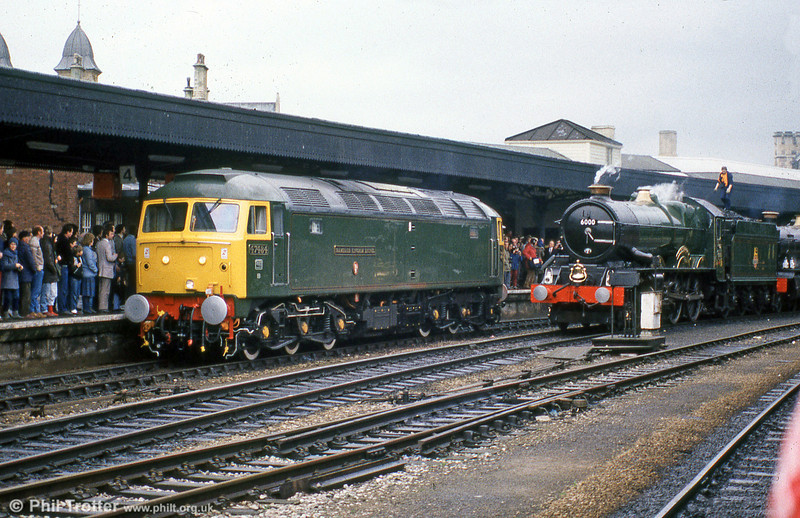 47484 'Isambard Kingdom Brunel' alongside 6000 'King George V' at Bristol Temple Meads with a GWR150 special in April 1985.
