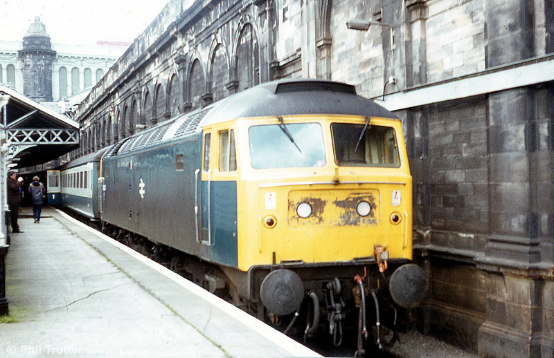 Awaiting departure time from Edinburgh Waverley, April 1983. Loco unknown.