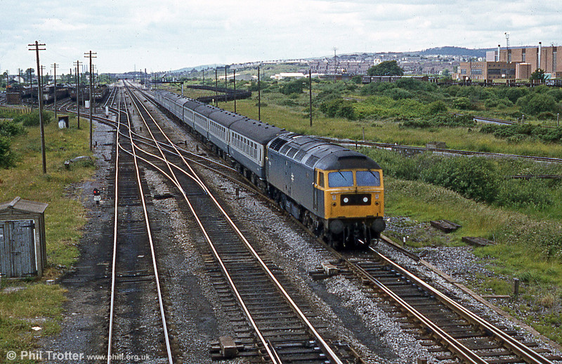 The yard at Llandeilo Junction looks quite busy in this shot of a 47 heading back from West Wales. Loco unknown.
