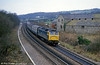 A class 47 heads east past Llangewydd in February 1986. Loco unknown.
