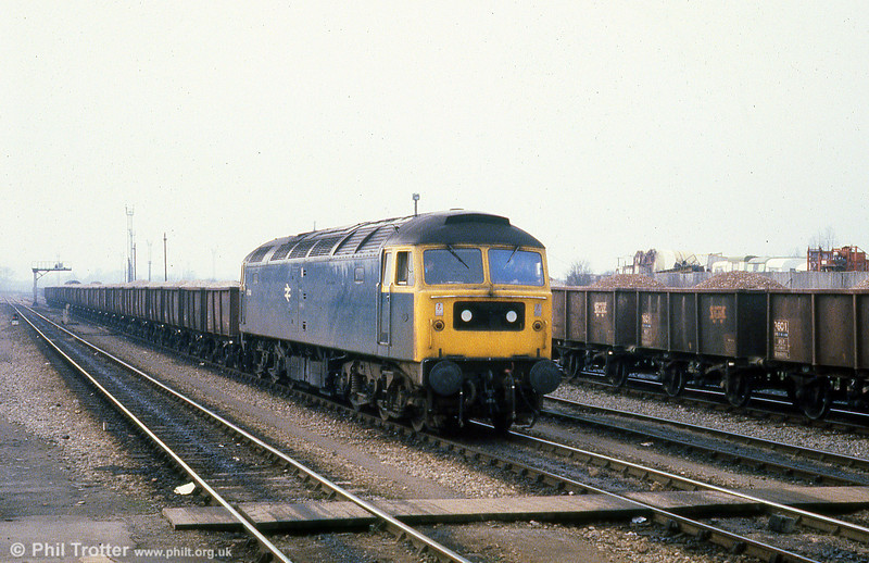 47144 at Westbury with a stone train on 20th February 1980.