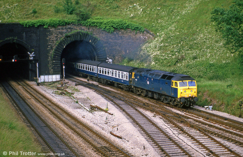 47425 heading out of Hillfield Tunnel, Newport, in July 1985.