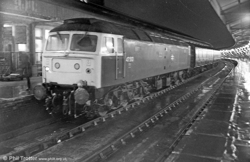 A filthy night in Swansea. 47513 'Severn' stands at the head of a returned excursion. The loco, new as D1959 in 1967, was cut up by Booths, Rotherham in May 2004.