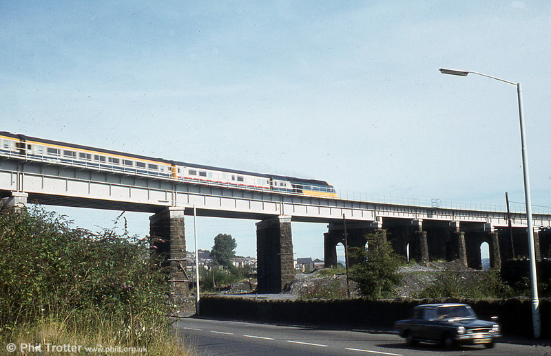 43025 crosses Landore Viaduct with the 1145 Swansea to London Paddington on 15th September 1979.