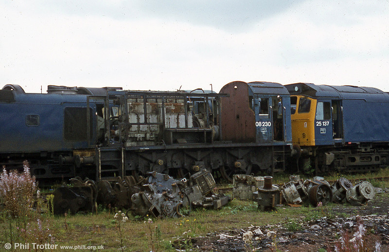 The remains of 08230 at Swindon Works.
