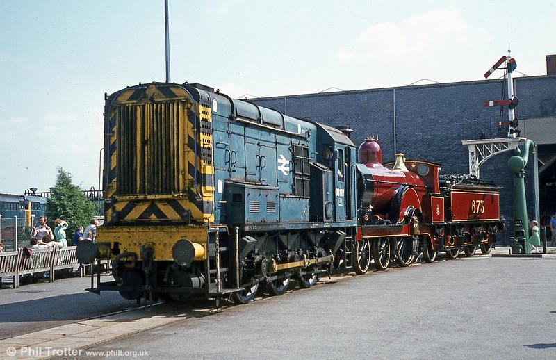 08197 shunts 1897 Midland Railway 'Spinner' 4-2-2 no. 673 at the NRM, York.