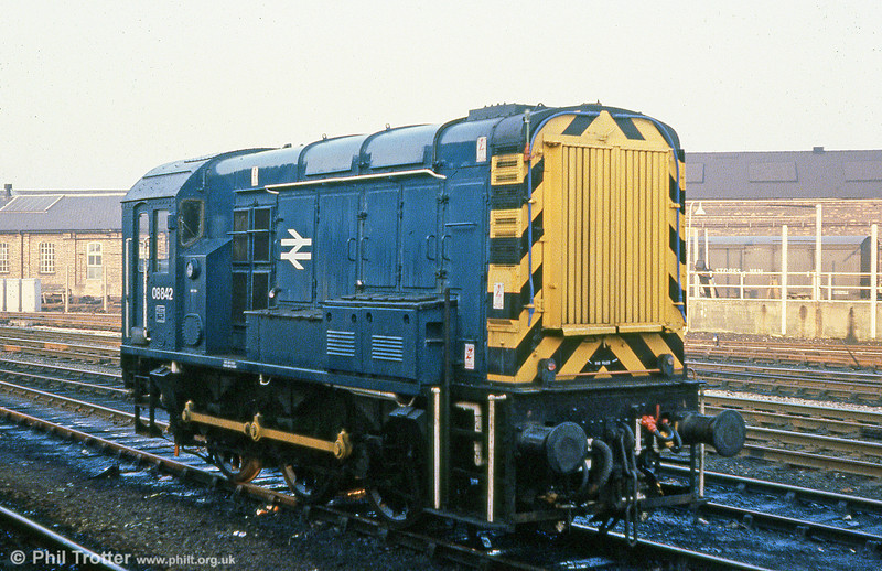 08842 seen at Derby on 23rd February 1980. The loco was eventually withdrawn in May 2008 and stored at Bescot.