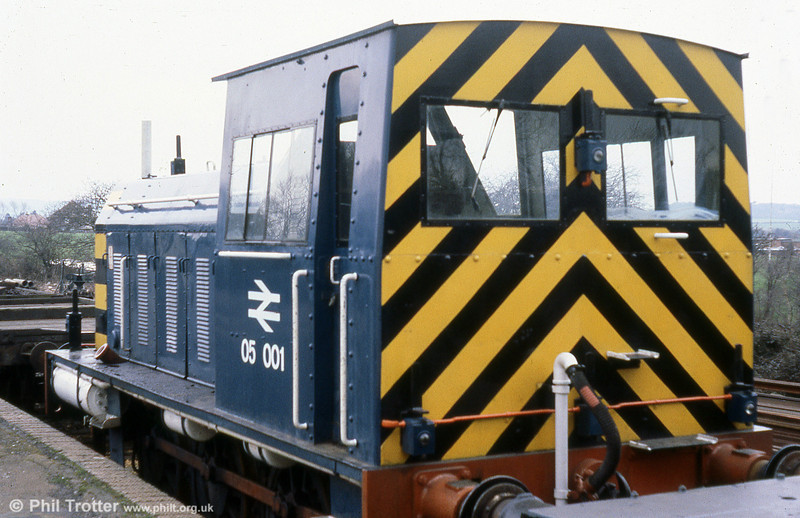 A cab view of Isle of Wight 0-6-0DM shunter 05001 (HE4870/1956) stabled at Sandown on 8th March 1980.