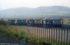 Kilvey Hill forms a backdrop to 08663, 08769, 08367 and 08639 at Swansea, Burrows Yard on 29th September 1985.