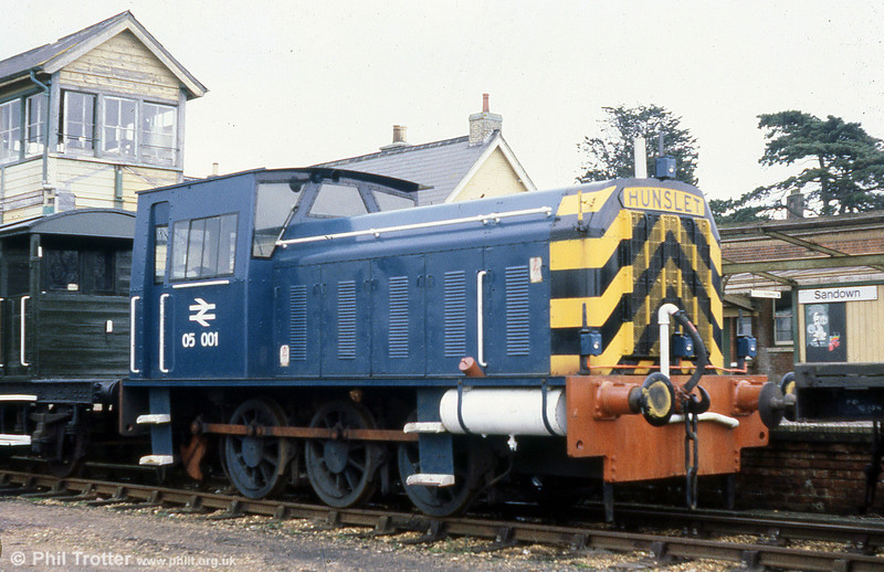 Isle of Wight 0-6-0DM shunter 05001 (HE4870/1956) stabled at Sandown on 8th March 1980. The loco was used for permanent way work and during the electrification of the line. Formerly no. D2554, the loco had modifications to the cab height to enable it to work within the restricted loading gauge of the Isle of Wight railways.