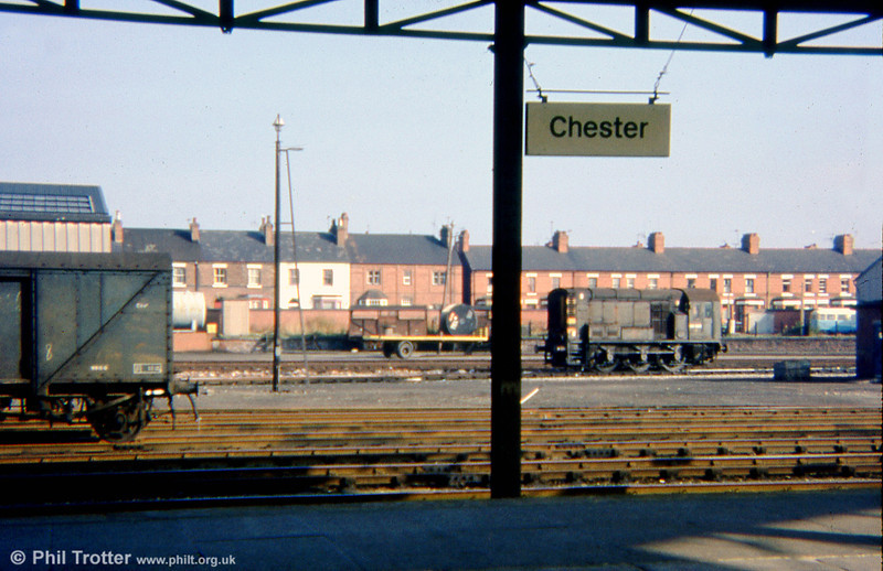 Green 08023 is seen in the yard at Chester on 25th October, 1975. The loco ended its days at Swindon works in 1987.