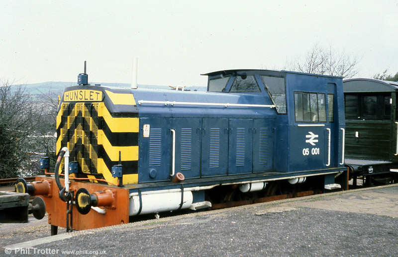 Another view of 05001 - the former D2554 - at Sandown, IoW on 8th March, 1980. The loco remains on the island, being acquired by the Isle of Wight Steam Railway in 1984.