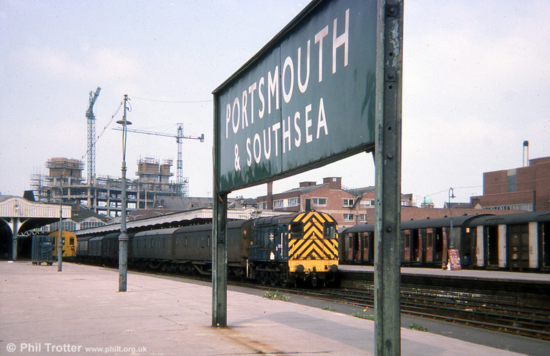 Class 08 shunts parcels vans at Portsmouth and Southsea in August 1975.