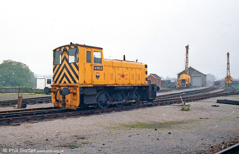 97653, a Ruston Hornsby (no. 431760/1959) 0-6-0DE at Radyr Civil Engineers' Yard on 29th September 1985.