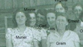 Adults left to right: Muriel Bramwell, Minnie Castle-Bramwell, Carl Bramwell, Lois Bramwell-Kinser, Virginia Amyx-Bramwell (back), Gram/Hattie Fisk-Bramwell, Ernest Bramwell. (Photo owned by Opel Bramwell-Turner, taken by Lee Turner. Family members identified by Opel Bramwell-Turner & Beverly Turner-Leas.)