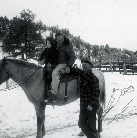 """Dad/Floyd's best childhood friend, Lester Davis visiting from Dulce, NM.  """"Tuffy"""" was first married to Dad's sister, Bessy Bramwell.  This is his son from his second marriage.  He was wounded in WWII and met her when she helped nurse him back to health in the military hospital in Santa Fe, NM."""