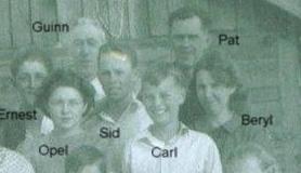 Left to right: Ernest Bramwell, Opel Bramwell-Turner, Guinn Kinser, Sid Dutton, Carl Dutton, Pat Dutton, Beryl Bramwell-Dutton. (Photo owned by Opel Bramwell-Turner, taken by Lee Turner. Family members identified by Opel Bramwell-Turner & Beverly Turner-Leas.)