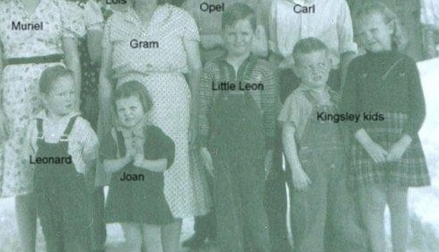 Children in front - left to right: Leonard Kinser, Joan Turner, Little Lynn Bramwell, two Kinsley kids raised by Beryl. (Photo owned by Opel Bramwell-Turner, taken by Lee Turner. Family members identified by Opel Bramwell-Turner & Beverly Turner-Leas.)
