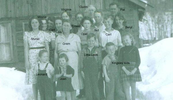 Adults left to right: Muriel Bramwell, Minnie Castle-Bramwell, Carl Bramwell, Lois Bramwell-Kinser, Virginia Amyx-Bramwell (back), Gram/Hattie Fisk-Bramwell, Ernest Bramwell, Opel Bramwell-Turner, Guinn Kinser, Sid Dutton, Carl Dutton, Pat Dutton, Beryl Bramwell-Dutton. Children in front - left to right: Leonard Kinser, Joan Turner, Little Lynn Bramwell, two Kinsley kids raised by Beryl. (Photo owned by Opel Bramwell-Turner, taken by Lee Turner. Family members identified by Opel Bramwell-Turner & Beverly Turner-Leas.)