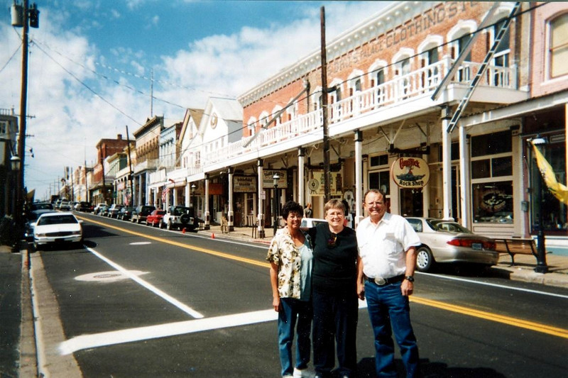 Looking up the street in Virginia City, NV. Charlotte,Marvel and Ron