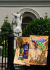 Art and Artists are everywhere in New Orleans.  Here the artist is selling paintings hung from a church fence.  Its almost as if they are being blessed.