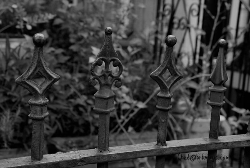 Ornamental cast iron finials on a fence in NOLA.