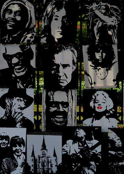 Art in NOLA is everywhere.  This a shot of a group of prints for sale on the fence at Jackson Square.