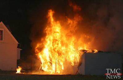 GARAGE FIRE ON SPRUCE – 15 CHICKENS SURVIVE