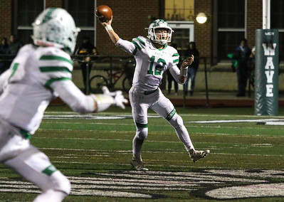 no.12, Anthony Prato passing to no.7, Cole Groschel. Brick Township High School v/s Long Branch during the NJSIAA Group 4 Final in Long Branch, NJ on 11/16/18. [DANIELLA HEMINGHAUS | THE OCEAN STAR]