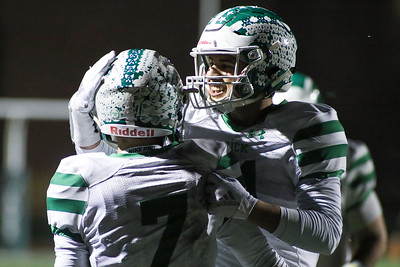 no.31, Joe Gorman celebrating with no.7, Cole Groschel Brick Township High School v/s Long Branch during the NJSIAA Group 4 Final in Long Branch, NJ on 11/16/18. [DANIELLA HEMINGHAUS | THE OCEAN STAR]