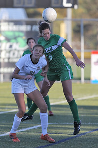 Bella Silva (right) from Brick gets her head on the ball ahead of Hopewell Valley's Nicola Mosionek as Brick Township High School hosted Hopewell Valley High School in the NJSIAA Central Jersey Group III Girls Soccer Championship at the Drum Point Sports Complex in Brick Township on Saturday November 10, 2018. (MARK R. SULLIVAN/THE OCEAN STAR)