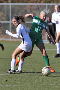 Kayleigh Markey (right) from Brick battles Ava Tillman (left) from Hopewell Valley as with  Brick Township High School hosted Hopewell Valley High School in the NJSIAA Central Jersey Group III Girls Soccer Championship at the Drum Point Sports Complex in Brick Township on Saturday November 10, 2018. (MARK R. SULLIVAN/THE OCEAN STAR)