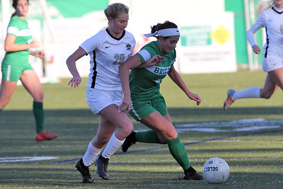 Abby Kennelly from Brick (right) battles with Hopewell Valley's Charlotte Hare as Brick Township High School hosted Hopewell Valley High School in the NJSIAA Central Jersey Group III Girls Soccer Championship at the Drum Point Sports Complex in Brick Township on Saturday November 10, 2018. (MARK R. SULLIVAN/THE OCEAN STAR)