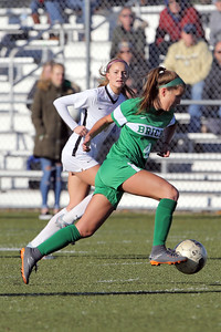 Alayna Gaydos from Brick races past Hopewell Valley defenders as Brick Township High School hosted Hopewell Valley High School in the NJSIAA Central Jersey Group III Girls Soccer Championship at the Drum Point Sports Complex in Brick Township on Saturday November 10, 2018. (MARK R. SULLIVAN/THE OCEAN STAR)