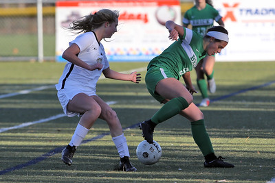 Abby Kennelly (right) from Brick gets control of the ball as Brick Township High School hosted Hopewell Valley High School in the NJSIAA Central Jersey Group III Girls Soccer Championship at the Drum Point Sports Complex in Brick Township on Saturday November 10, 2018. (MARK R. SULLIVAN/THE OCEAN STAR)