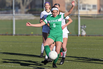 Abby Kennelly from Brick keeps the Hopewell Valley defenders behind her as she gets control of the ball as Brick Township High School hosted Hopewell Valley High School in the NJSIAA Central Jersey Group III Girls Soccer Championship at the Drum Point Sports Complex in Brick Township on Saturday November 10, 2018. (MARK R. SULLIVAN/THE OCEAN STAR)