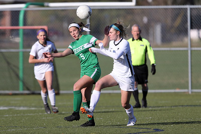 Abby Kennelly (left) from Brick gets her head on the ball as Brick Township High School hosted Hopewell Valley High School in the NJSIAA Central Jersey Group III Girls Soccer Championship at the Drum Point Sports Complex in Brick Township on Saturday November 10, 2018. (MARK R. SULLIVAN/THE OCEAN STAR)