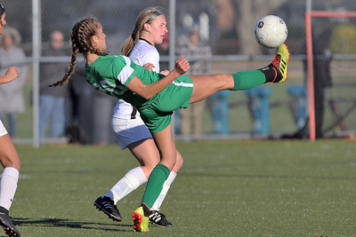 Jean Andersen gets her foot on the ball in front of a Hopewell Valley defender as Brick Township High School hosted Hopewell Valley High School in the NJSIAA Central Jersey Group III Girls Soccer Championship at the Drum Point Sports Complex in Brick Township on Saturday November 10, 2018. (MARK R. SULLIVAN/THE OCEAN STAR)